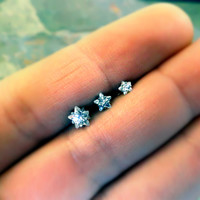 Crystal Star Triple Helix Stud Cartilage Earrings
