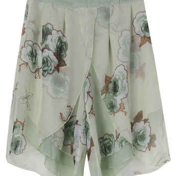 Casual Women Flower Printing Chiffon Palazzo Shorts Pants