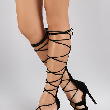 Shoe Republic LA Suede Corset Lace Up Open Toe Gladiator Heel