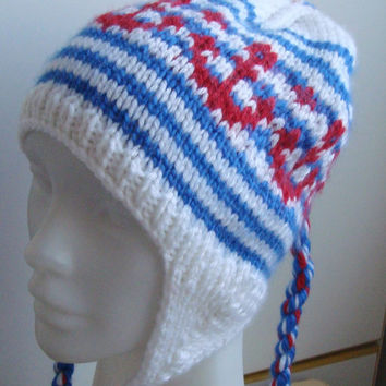 Hand Knit Hat Womens Hat Mens Hat Earflap Hat - The Stripe Nautical Hat in White Blue Red - Anchor Nautical Fashion Accessories