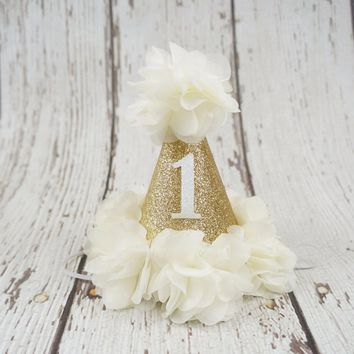 Ivory and Gold Birthday Hat