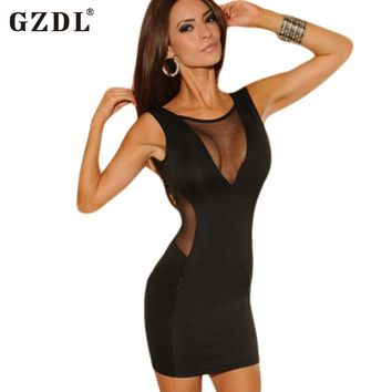 GZDL Fashion Summer Dress Backless See Through Mesh Sheer Bandage Bodycon Sexy Cocktail Party Club Women Dresses Vestidos CL1615
