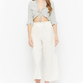 Polka Dot Ruffle Crop Top