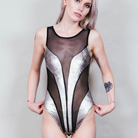 Ray Gun - Silver metallic bodysuit with black mesh inserts - sleeveless