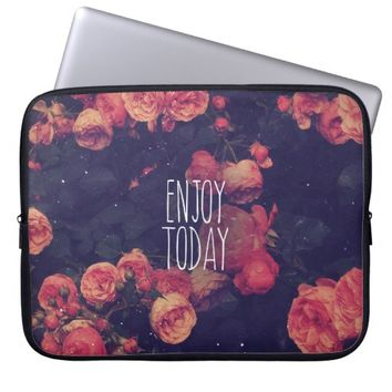"Cool Girly Pink Roses Vintage ""Enjoy Today"" Photo Laptop Sleeve"