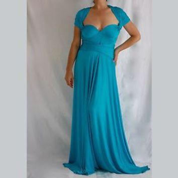 Bridesmaid Blue Dress Wrap Convertible Multiway Cocktail Evening Gown Oversize