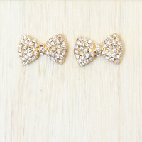 Gold Crystal Bow Tie Earrings - Earrings