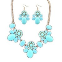 Women's Flower Stone Statement Necklace Set with Earrings DP 0516