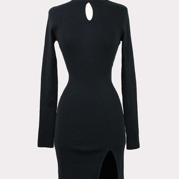 Julie Keyhole Slit Dress