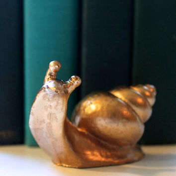 Handmade Golden Snail Figurine Desk Decor