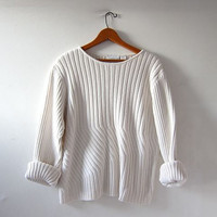 vintage natural white sweater. ribbed cream pullover. preppy knit shirt. minimalist.