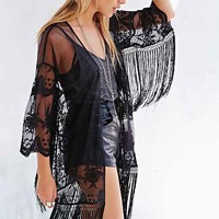 Pins And Needles Embroidered Lace Kimono Jacket- Black