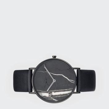 Stone Watch - black stone/black leather