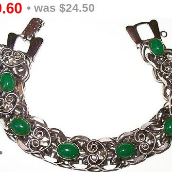"Green Jade Link Bracelet Oval Cabochons Heart Scroll Decorations Silver Curb Chain Holidays 7.5"" Vintage"