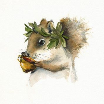 squirrel art- wine, greek, -Dionysus - Squirrel Art