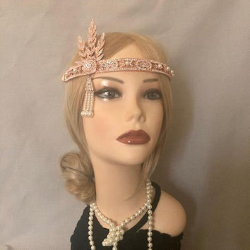 The Great Gatsby Replica 1920's inspired ROSE Gold Rhinestone costume 20s flapper headband art deco 1920 Rosegold headpiece bridesmaid (938)
