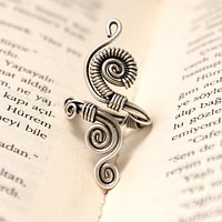 Handmade Silver Plated Wire Wrapped Adjustable Ring