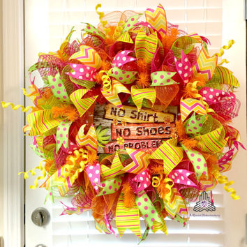 No Shirt No Shoes No Problem Ruffle Deco Mesh Wreath