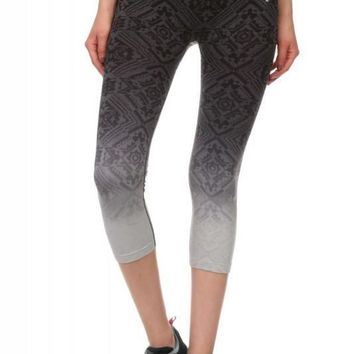 Ombre Black and Gray Capri Active Pants