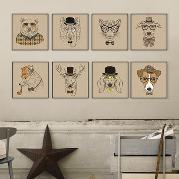 Vintage Retro Fashion Animals Head Deer Dog Canvas Art Print Poster Wall Picture Living Room Home Bar Decor Painting No Frame