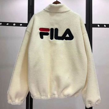 FILA Fashion Casual Women Embroider Long Sleeve Wool Zipper Coat G-MG-FSSH