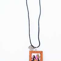 Sex and the City Necklace Pendant Laminated Illustration Cork Frame Handmade Jewelry