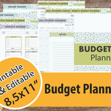 "Budget Planner, Financial Planner Kit, Editable Budget Planner 8,5x11"" – Instant Download"
