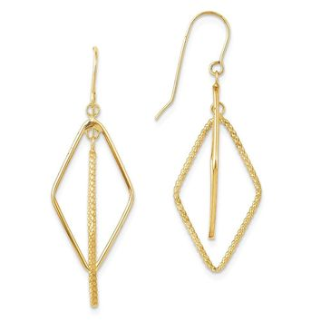14k Yellow Gold Polished and Textured Diamond-shape Dangle Earrings