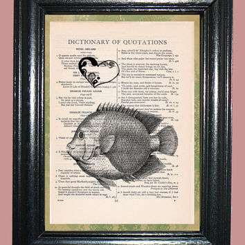 Ocean Fish with Black Heart - Upcycled Vintage Dictionary Page Book Print Art Print on Dictionary Page, Fish Print