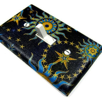 Blue Celestial Sun Moon and Stars Light Switch Cover Home Decor Switchplate Switch Plate Summer Solstice  604