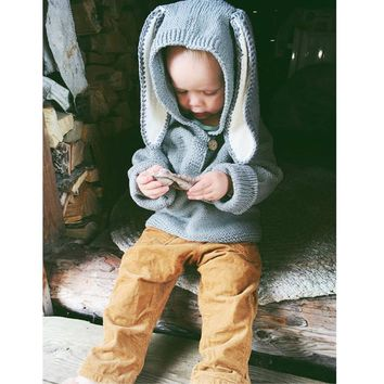 2018 Boys Sweater 3D Rabbit Bunny Pullover Winter Kids Girls Knitted Sweater Jumpers Baby Girls Winter Clothes