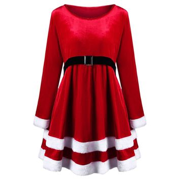 Christmas Plus Size Velvet Long Sleeve Dress