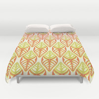Double Lemon and Oranges - Graphic Leaf Motif Duvet Cover by RunnyCustard Illustration