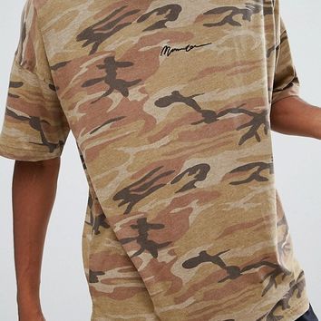 Mennace Camo T-Shirt With Dropped Shoulder In Camo at asos.com