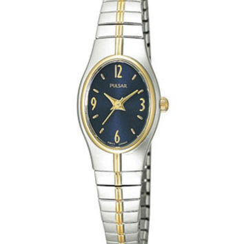 Pulsar Ladies Watch - Stainless & Gold-Tone - Blue Face - Stretch Band