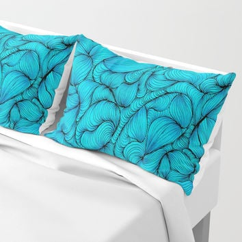 Aqua Pillow Sham by duckyb