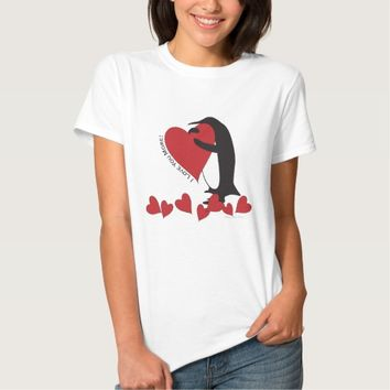Cute Penguin and Red Hearts Tshirts