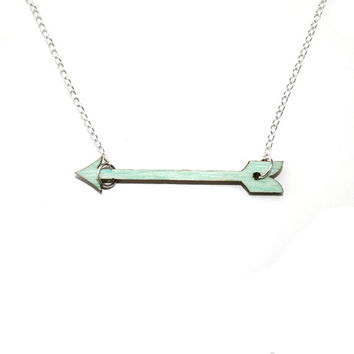 CIJ 10% OFF - Mint Green Arrow Necklace, Painted Wood Arrow CIJUK10