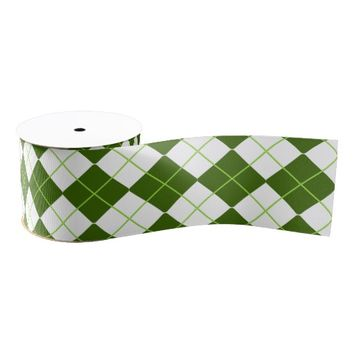 Sporty Green Argyle on White Satin Ribbon