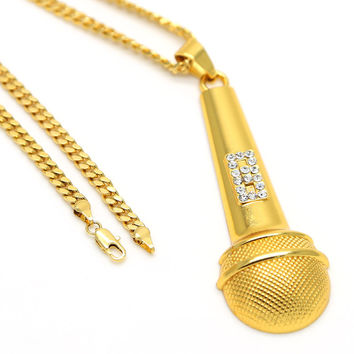 Hip Hop Gold Plated Rhinestone Microphone Pendent Necklace with High Quality Iced Out Personalized Miami Cuban Chain