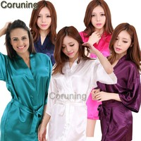 RB032  2017 New Silk Kimono Robe Bathrobe Women Silk Bridesmaid Robes Sexy Navy Blue Robes Satin Robe Ladies Dressing Gowns
