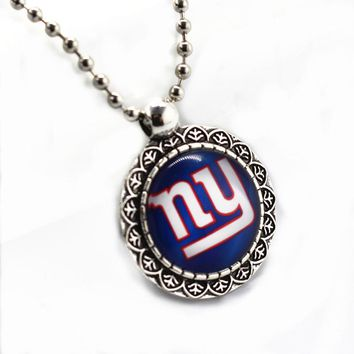SANGUINE Glass Pendant New York Giants Football Sports Team With 45cm Silver Beads Chains Fit Fashion Necklace Jewelry Making