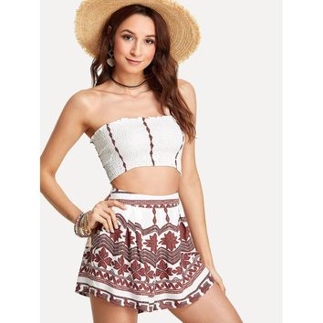 White Pleated Tube Top With Geo Print Shorts