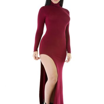 Chicloth Red Long Sleeves Side Split Slit Jesery Maxi Dress