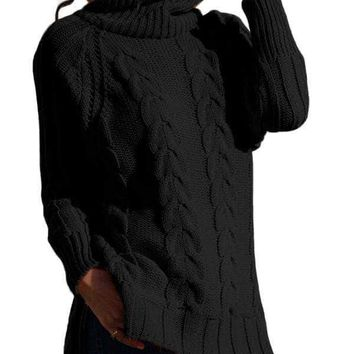 Black Turtle Neck Long Tail Cable Sweater