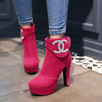 Hot Deal On Sale Winter Rhinestone Waterproof High Heel Zippers Plus Size Boots [6366198340]