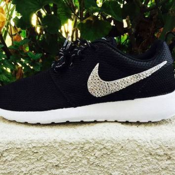 ONETOW Custom Nike Roshe Swarovski Crystals, cute sneakers, Emerald Crystals, Clear crystal,