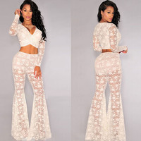 White Lace Top and Pants Set