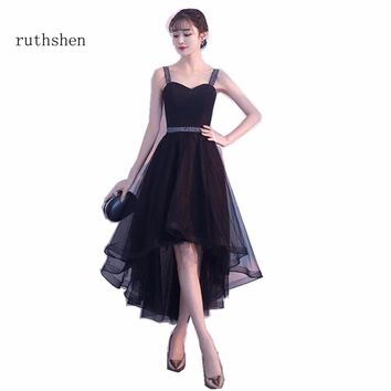 ruthshen Prom Dresses High Low A Line Party Dresses Sleeveless Arabic Dubai Short Front Long Back Vestidos Para Festa Curto 2018