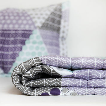 Patchwork Prism Quilted Coverlet and Sham Set